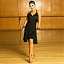 זול הלבשה לריקודים לטיניים-ריקוד לטיני שמלות בגדי ריקוד נשים הצגה ספנדקס פרנזים ללא שרוולים שמלה