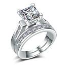Χαμηλού Κόστους Δαχτυλίδια-Για Ζευγάρια Σετ δαχτυλιδιών Cubic Zirconia 2pcs Χρυσό Ασημί Χαλκός Επιχρυσωμένο Geometric Shape Στυλάτο Ευρωπαϊκό Νυφικό Γάμου Δώρο Κοσμήματα Ταίριασμα Την Και την Απίθανο