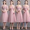 זול שמלות שושבינה-גזרת A לב (סוויטהארט) באורך  הברך טול שמלה לשושבינה  עם תחרה על ידי LAN TING Express