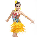 Χαμηλού Κόστους Παιδικά Ρούχα Χορού-Λάτιν Χοροί / Παιδικά Ρούχα Χορού Σύνολα Κοριτσίστικα Εκπαίδευση / Επίδοση Νάιλον / Με πούλιες Φούντα / Παγιέτες Αμάνικο Κοσμήματα Μαλλιών / 1 Ζευγάρι σκουλαρίκια / Φόρεμα