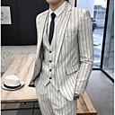 povoljno Modni dodaci za muškarce-Muškarci odijela, Prugasti uzorak Klasični rever Poliester Bež / Slim