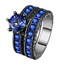 Χαμηλού Κόστους Μοδάτο Δαχτυλίδι-Ανδρικά Γυναικεία Band Ring Cubic Zirconia 2pcs Μπλε Κράμα Δώρο Καθημερινά Κοσμήματα Lovely