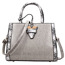 cheap Top Handles & Tote Bags-Women's Buttons PU Top Handle Bag Solid Color Black / Brown / Gray
