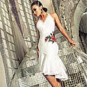 Χαμηλού Κόστους Ρούχα χορού λάτιν-Λάτιν Χοροί Φορέματα Γυναικεία Επίδοση Spandex Κέντημα / Πλισέ Αμάνικο Φόρεμα