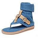 baratos Sandálias Femininas-Mulheres Sandálias Sem Salto Presilha Jeans Doce / Formais Primavera Verão Preto / Azul / Bege