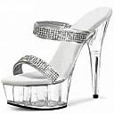 ราคาถูก รองเท้าส้นเตี้ยผู้หญิง-สำหรับผู้หญิง PU ฤดูร้อนฤดูใบไม้ผลิ หวาน / อังกฤษ รองเท้าแตะ Platform ปลายกลม หินประกาย ขาว / สีดำ / พรรคและเย็น