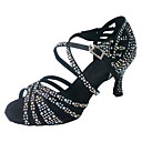 זול נעליים לטיניות-בגדי ריקוד נשים נעלי ריקוד סטן נעליים לטיניות אבזם / פרטים מקריסטל / נצנוץ עקבים סלים גבוהה עקב מותאם אישית שחור / עירום / הצגה / עור