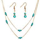 ราคาถูก ตุ้มหู-สำหรับผู้หญิง Turquoise Drop Earrings สร้อยคอชั้น สองชั้น ถูก ง่าย คลาสสิก วินเทจ ต่างหู เครื่องประดับ สีทอง / สีเงิน สำหรับ ปาร์ตี้ พิธี เทศกาล 3pcs / แพ็ค