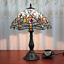 billiga Bordslampor-12 tums skrivbord ljus konstnärlig / rosa blomma tiffany omgivande lampor dekorativ härlig bordslampa för inomhus sovrum harts 110-120v 220-240v 40w * 1 lampa ingår ej