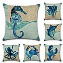 ราคาถูก บ้าน & สวน-6 ชิ้น ฝ้าย / ลินิน Pillow Cover ปลอกหมอน, ออกแบบพิเศษ Wildlife Nautical สัตว์ Tropical