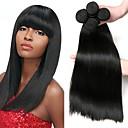 hesapli Gerçek Saç Örgüleri-4 Paket Düz Brezilya Saçı Düz Kökten Saç İnsan saç örgüleri Paketi Saç One Pack Çözümü 8-28 inç Doğal Renk İnsan saç örgüleri Yumuşak En iyi kalite Kalın İnsan Saç Uzantıları
