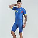 Χαμηλού Κόστους Σετ Μπλούζες & Σορτσάκια/Παντελόνια Ποδηλασίας-BOESTALK Ανδρικά Γυναικεία Κοντομάνικο Φανέλα και σορτς ποδηλασίας Ολόσωμη στολή για τρίαθλο Μαγιό - Μπλε Ποδήλατο Αναπνέει Πίσω τσέπη Αθλητισμός Spandex Γραφική Ποδηλασία Βουνού Ποδηλασία Δρόμου