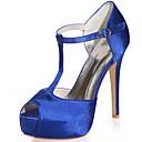 זול נעלי עקב לנשים-בגדי ריקוד נשים סטן אביב קיץ מתוק נעלי חתונה עקב סטילטו בוהן מציצה ריינסטון כחול / חום בהיר / קריסטל / מסיבה וערב