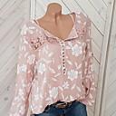 billige Reborn-dukker-Skjortekrage Store størrelser Bluse Dame - Blomstret, Blonde Gatemote Ut på byen Dusty Rose Rød / Vår / Høst