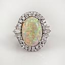 billige Statement Ringe-Dame Ring Opal Månesten 1pc Hvit Kobber Geometrisk Form Stilfull Europeisk Tropisk Bryllup Gave Smykker Vintage Stil Kul