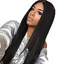 povoljno Perike s ljudskom kosom-Remy kosa Prednji dio duboke čipke Full Lace Lace Front Perika Duboko udaljavanje Kardashian stil Brazilska kosa Ravan kroj Natural Crna Perika 130% Gustoća kose 10-24 inch s dječjom kosom Prirodna