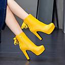 Χαμηλού Κόστους Γυναικείες Μπότες-Γυναικεία PU Άνοιξη & Χειμώνας / Φθινόπωρο & Χειμώνας Γλυκός / Μινιμαλισμός Μπότες Κοντόχοντρο Τακούνι Στρογγυλή Μύτη Μποτίνια Λευκό / Μαύρο / Κίτρινο