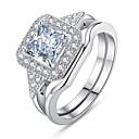 Χαμηλού Κόστους Μοδάτο Βραχιόλι-Γυναικεία Σετ δαχτυλιδιών Cubic Zirconia 2pcs Λευκό Μπλε Χαλκός Geometric Shape Στυλάτο Ευρωπαϊκό Ρομαντικό Γάμου Δώρο Κοσμήματα Κλασσικό HALO Απίθανο