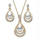 זול סט תכשיטים-בגדי ריקוד נשים עגילי טיפה שרשראות תליון 3D אגס זול מסוגנן קלסי אלגנטית מפואר דמוי פנינה אבן נוצצת עגילים תכשיטים זהב / כסף עבור מתנה יומי 1set