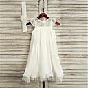 Χαμηλού Κόστους Φορέματα για κορίτσια-Γραμμή Α Κάτω από το γόνατο Φόρεμα για Κοριτσάκι Λουλουδιών - Δαντέλα / Σατέν σιφόν Αμάνικο Με Κόσμημα με Ζώνη / Κορδέλα / Πρώτη Κοινωνία