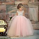 billiga Flickklänningar-Småbarn Flickor söt stil Blommig Nät Ärmlös Maxi Klänning Rodnande Rosa