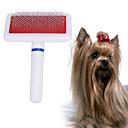 billige Hundepleiemateriell-Hunder Kæledyr Børster Pleie Rengjøring Plast Kammer Massasje Vaskbar Kæledyr Pleieutstyr Hvit 1