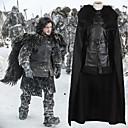 Χαμηλού Κόστους Στολές της παλιάς εποχής-Παιχνίδι των θρόνων Jon Snow Μανδύας Στολές Ανδρικά Στολές Ηρώων Ταινιών Μαύρο Κορυφή Φούστα Μανδύας Halloween Απόκριες PU δέρμα Πολυεστέρας