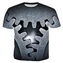 billige T-skjorter og singleter til herrer-Bomull Rund hals T-skjorte Herre - 3D, Trykt mønster Grå