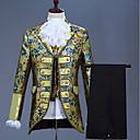 povoljno Stare svjetske nošnje-Muškarci Veličina EU / SAD odijela, Cvjetni print Klasični rever Akril / Poliester Navy Plava / purpurna boja / Navy Plava