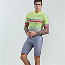 Χαμηλού Κόστους Σετ Μπλούζες & Σορτσάκια/Παντελόνια Ποδηλασίας-BOESTALK Ανδρικά Κοντομάνικο Φανέλα και σορτς ποδηλασίας Ολόσωμη στολή για τρίαθλο Μαγιό Ασημί+Πορτοκαλί Καρό Ποδήλατο Αναπνέει Πίσω τσέπη Αθλητισμός Spandex Καρό Ποδηλασία Βουνού Ποδηλασία Δρόμου