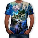 billige Sofa Trekk-Rund hals T-skjorte Herre - 3D / Dyr, Trykt mønster Blå