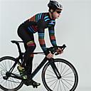 Χαμηλού Κόστους Σετ Μπλούζες & Σορτσάκια/Παντελόνια Ποδηλασίας-BOESTALK Ανδρικά Μακρυμάνικο Αθλητική φανέλα και κολάν ποδηλασίας Χειμώνας Προβιά Μαύρο Ουράνιο Τόξο Ριγέ Ποδήλατο Φλις Επένδυση Αναπνέει Πίσω τσέπη Αθλητισμός Πολύχρωμο / Ελαστικό / Ποδηλασία Βουνού