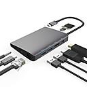 ราคาถูก USB ฮับ และ สวิตช์-USB 3.1 Type C to พอร์ตดิสเพลย์ / USB 3.0 / USB 3.1 Type C / RJ45 / เสียง 3.5 มม ฮับ USB 9 พอร์ต ความเร็วสูง / กับ Card Reader (s) / เก็บข้อมูล / ด้วยอีเทอร์เน็ต