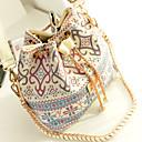 ราคาถูก กระเป๋าสะพายข้าง-สำหรับผู้หญิง ผ้าใบ กระเป๋าสะพาย รูปเรขาคณิต สีแดงชมพู