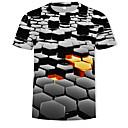 Χαμηλού Κόστους Συνθετικά εξτένσιον-Ανδρικά T-shirt Βασικό / Κομψό στυλ street Συνδυασμός Χρωμάτων / 3D Στρογγυλή Λαιμόκοψη Στάμπα Μαύρο / Κοντομάνικο