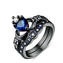Χαμηλού Κόστους Άλλα Εργαλεία-Ανδρικά Γυναικεία Δαχτυλίδι Δαχτυλίδι Αρραβώνων 2pcs Σκούρο μπλε Κράμα Κυκλικό Καθημερινά Γαμήλια Τελετή Κοσμήματα Heart