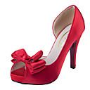 Χαμηλού Κόστους Γυναικεία παπούτσια γάμου-Γυναικεία Σατέν Καλοκαίρι Κλασσικό / Γλυκός Γαμήλια παπούτσια Πλατφόρμα Ανοικτή Μύτη Φιόγκος Λευκό / Μαύρο / Κόκκινο / Γάμου / Πάρτι & Βραδινή Έξοδος