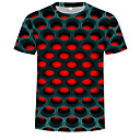billige 3D gardiner-Rund hals T-skjorte Herre - Fargeblokk / 3D, Trykt mønster Gatemote / overdrevet Lilla / Kortermet