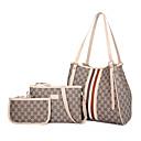 ราคาถูก กระเป๋า Totes-สำหรับผู้หญิง ซิป PU ชุดกระเป๋า ชุดกระเป๋า ลายแถบ ชุดชอปปิ้ง 3 ชิ้น สีดำ / สีน้ำตาล / ขาว / ฤดูใบไม้ร่วง & ฤดูหนาว