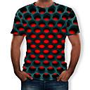 baratos Calças e Shorts para Trilhas-Homens Camiseta Moda de Rua / Exagerado Estampado, Geométrica / 3D Decote Redondo Roxo