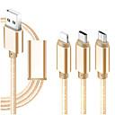 billige Organisasjon til bilen-Mikro USB / Belysning / Type-C Kabel 1m-1.99m / 3ft-6ft Alt-i-En / Flettet / 1 til 3 tekstil USB-kabeladapter Til iPad / Samsung / Huawei