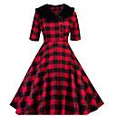 Χαμηλού Κόστους Στολές της παλιάς εποχής-γυναικείο φόρεμα swing midi γυναικών κόκκινο πράσινο s m l xl