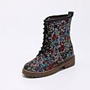 ราคาถูก รองเท้าส้นสูงผู้หญิง-สำหรับผู้หญิง Synthetics ฤดูใบไม้ร่วง & ฤดูหนาว บูท Block Heel ปลายกลม บู้ทสูงระดับกลาง ขาว / สีดำ / แดง