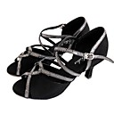 Χαμηλού Κόστους Παπούτσια χορού λάτιν-Γυναικεία Παπούτσια Χορού Σουέτ Παπούτσια χορού λάτιν Πέδιλα Τακούνι καμπάνα Εξατομικευμένο Μαύρο