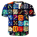 Χαμηλού Κόστους Αντρικά Βραχιόλια-Ανδρικά T-shirt Βαμβάκι 3D / Ουράνιο Τόξο Στρογγυλή Λαιμόκοψη Στάμπα Ουράνιο Τόξο