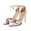 ราคาถูก รองเท้าแตะผู้หญิง-สำหรับผู้หญิง PU ฤดูร้อน รองเท้าส้นสูง ส้น Stiletto Pointed Toe ขาว / สีดำ / สีชมพู