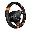 billige Setetrekk til bilen-bil ratt deksel pustende og glidende microfiber lær ratt deksel universal 38cm / 15 tommers oransje og svart