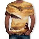 Χαμηλού Κόστους Αντρικά Κολιέ-Ανδρικά Μεγάλα Μεγέθη T-shirt Βαμβάκι 3D / Ζώο Στρογγυλή Λαιμόκοψη Στάμπα Χρυσό