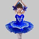 abordables Ropa de Baile para Niños-Ropa de Baile para Niños / Ballet Vestidos Chica Entrenamiento / Rendimiento Poliéster / Malla Plumas / Piel / Combinación / Cristales / Rhinestones Sin Mangas Vestido