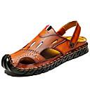 ราคาถูก รองเท้าแตะผู้ชาย-สำหรับผู้ชาย รองเท้าสบาย ๆ แน๊บป้า Leather ฤดูร้อน / ตก คลาสสิก / ไม่เป็นทางการ รองเท้าแตะ ไม่ลื่นไถล สีดำ / สีน้ำตาล / กลางแจ้ง